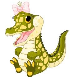 baby girl crocodile vector image vector image