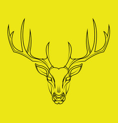 deer head hand drawn style on yellow background vector image