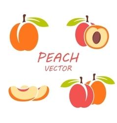 flat peach icons set vector image