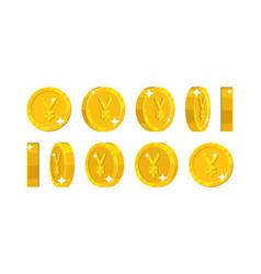 gold chinese yuan or japanese yen views cartoon vector image vector image