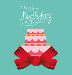 happy birthday cake card with ribbon bow vector image