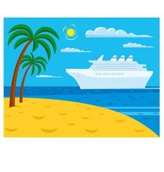 passenger cruise liner near tropical beach vector image vector image