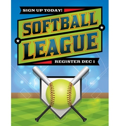 Softball League Banner vector image vector image
