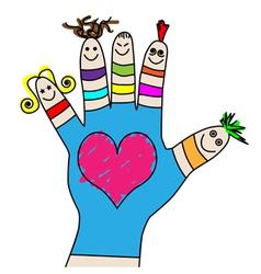 Children hand puppets vector