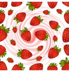 Cream and strawberry pattern vector image vector image