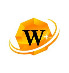 diamond swoosh initial w vector image vector image