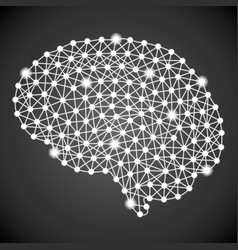 Human brain isolated on a black background vector