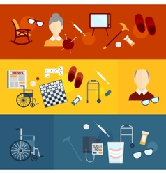 Pensioners life flat banners vector image vector image