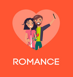 romance concept couple in love making selfie heart vector image vector image