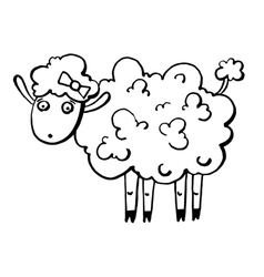 sketch doodle drawing of goat or sheep chinese vector image