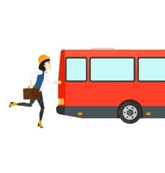 Woman missing bus vector image