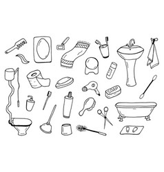 bathroom accessories collection doodle style vector image