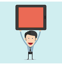 cartoon with tablet flat design vector image vector image