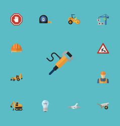 flat icons pneumatic hardhat excavator and other vector image vector image