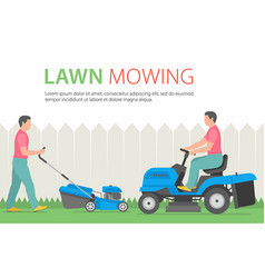 man mowing the lawn with blue lawn mower vector image