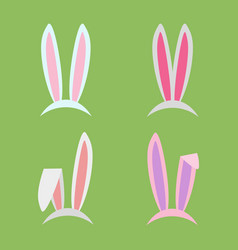 Rabbit ears collection for easter set of masks in vector