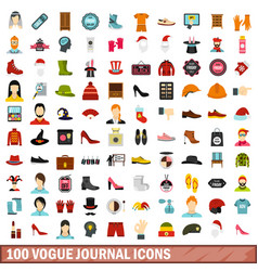 100 vogue journal icons set flat style vector image