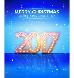2017 new year symbol with light bulbs and vector image