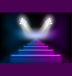 3d glowing neon stairs illuminated by spotlights vector image