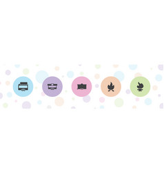 5 camp icons vector