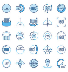 Angle 180 degrees blue icons collection vector