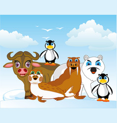 Arctic animals of the north on background of the vector