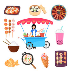 Asian mexican thailand japan food traditional vector