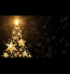 background with golden christmas tree vector image