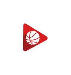 Basketball play video logo symbol template vector