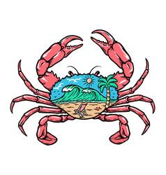 Beach view inside crab vector