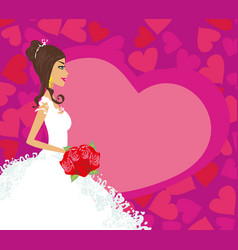 beautiful bride with flowers card vector image