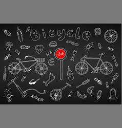 Bicycle collection in doodle stylehand drawn vector