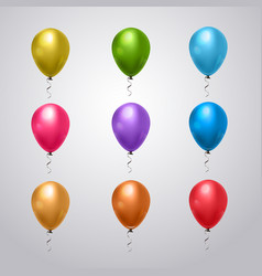 big set of colorful balloons with ribbon on grey vector image