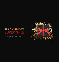 black friday super sale black gift box on dark vector image