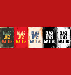 Black lives matter lettering cards on different vector