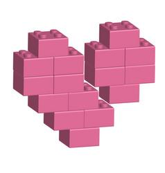 Building bricks in 3d broken heart vector