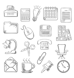 Business and office sketch icons vector