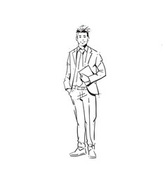 business man hold sheet of paper concept vector image