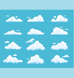 Cartoon clouds isolated on blue background vector