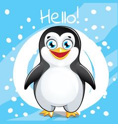 Cartoon penguin hello vector