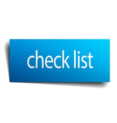 Check list blue paper sign on white background vector