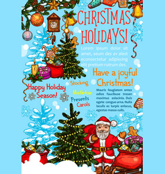 christmas and new year holiday season poster vector image