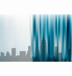 City background on abstract blue design vector