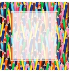 Colorful pencils with white transparent banner vector