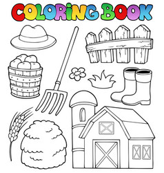 Coloring book farm theme 2 vector