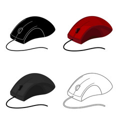 Computer mouse icon in cartoon style isolated on vector