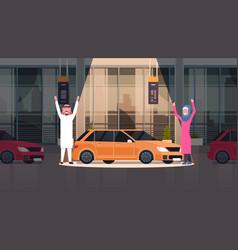 Couple of arab seller presenting new car vector