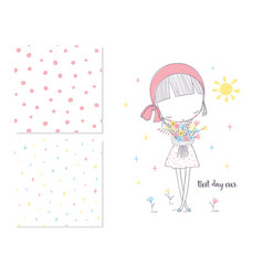 Cute girl with flowers and 2 seamless patterns vector