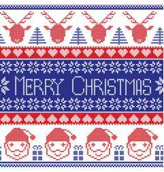 Dark blue and red Scandinavian Merry Christmas vector image
