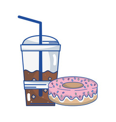 delicious donut with coffee plastic cup vector image